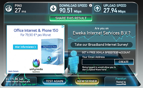 IPVanish Speed Test Germany
